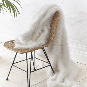 Metallic Fur Manta Branco Catherine Lansfield