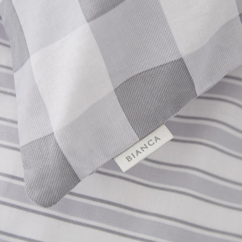 Capa de Edredão Cinza Check & Stripe