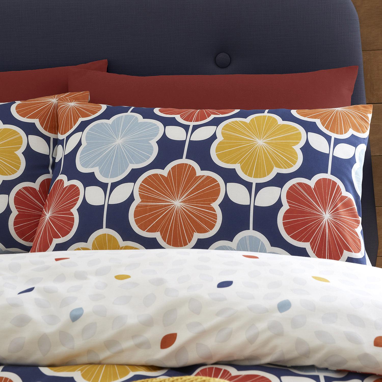 Capa de Edredão Azul Retro Floral